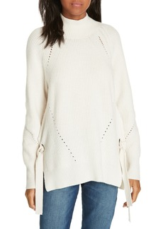 Rebecca Taylor Ribbed Turtleneck Tie Pullover Sweater