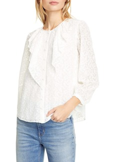 Rebecca Taylor Ribbon Embroidered Silk Top