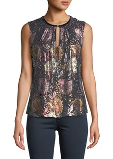 Rebecca Taylor Rose Sleeveless Clip Top