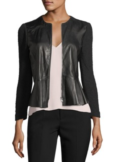 Rebecca Taylor Round-Neck Zip-Front Leather & Knit Jacket