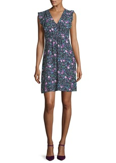 Rebecca Taylor Ruby Floral-Print V-Neck Sleeveless Day Dress