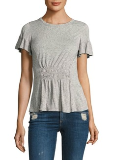 Rebecca Taylor Ruched Cotton Jersey Tee