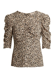Rebecca Taylor Ruched leopard-print silk blouse