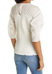 Rebecca Taylor Ruched Long Sleeve Cotton & Silk Blouse