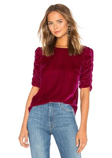 Rebecca Taylor Ruched Sleeve Velvet Top