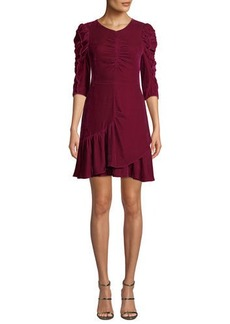 Rebecca Taylor Ruched Velvet 3/4-Sleeve Flounce Dress