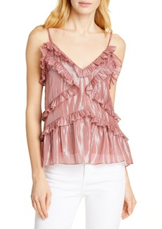 Rebecca Taylor Ruffle Detail Metallic Silk Blend Camisole