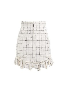 Rebecca Taylor Ruffle-hem cotton-blend tweed bouclé skirt