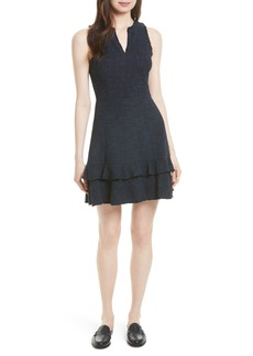 Rebecca Taylor Ruffle Hem Tweed Dress