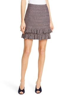 Rebecca Taylor Ruffle Hem Tweed Miniskirt