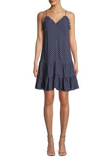 Rebecca Taylor Ruffle Ikat-Print Tank Dress