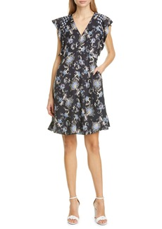 Rebecca Taylor Ruffle Paisley Silk Blend Dress