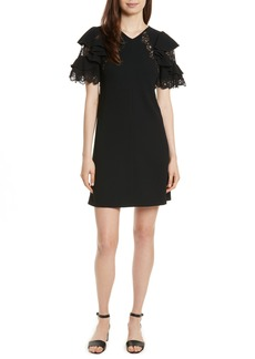 Rebecca Taylor Ruffle Sleeve Lace Sheath Dress