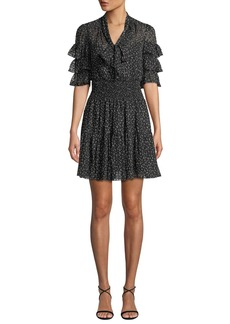 Rebecca Taylor Ruffle-Sleeve Mini Cheetah-Print Tie-Neck Dress