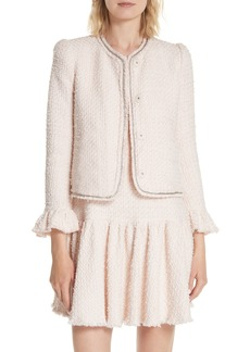 Rebecca Taylor Ruffle Sleeve Tweed Jacket