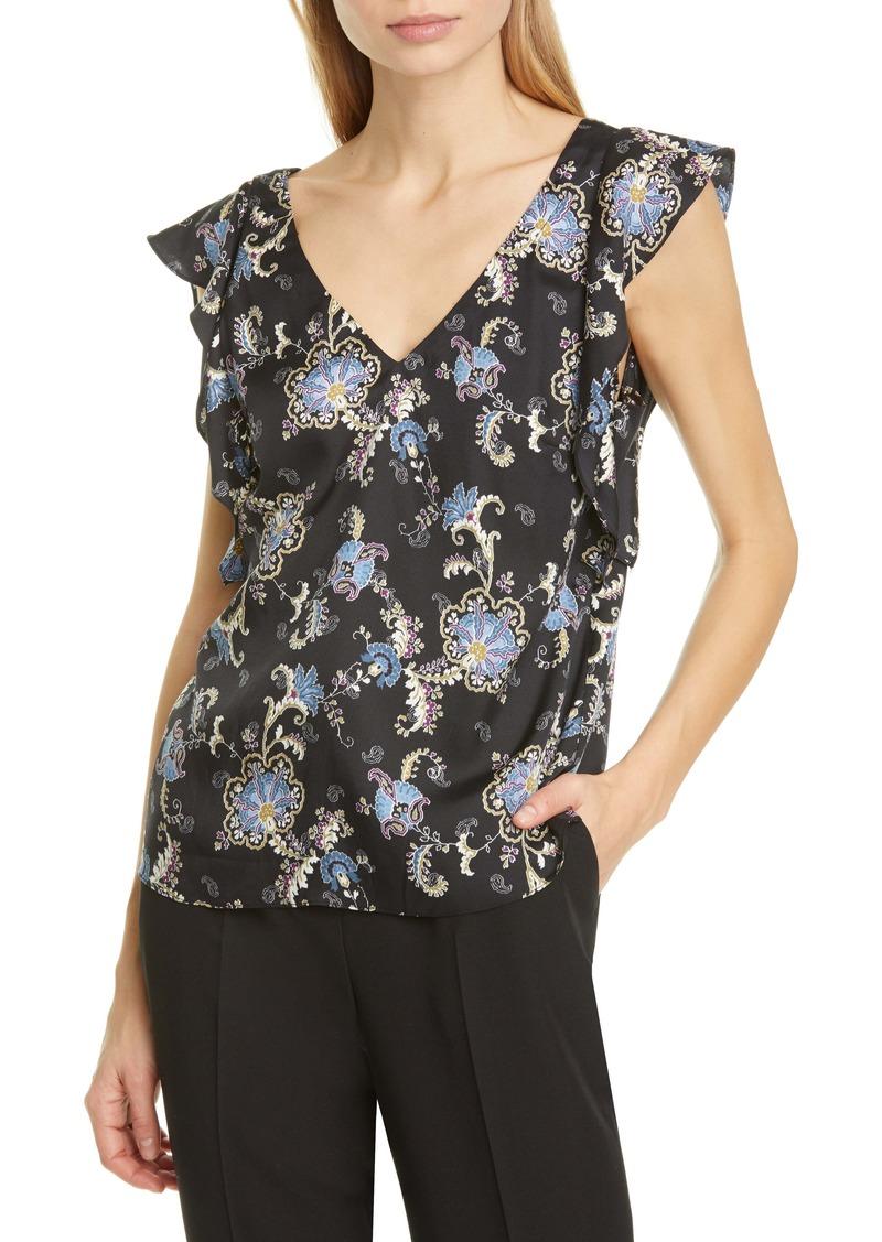 Rebecca Taylor Ruffle Sleeveless Paisley Silk Blend Top
