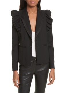 Rebecca Taylor Ruffle Stretch Wool Jacket