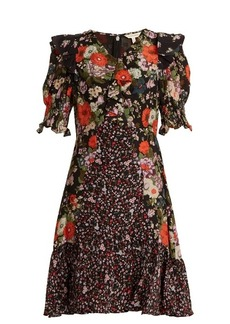 Rebecca Taylor Ruffle-trim contrast floral-print silk dress