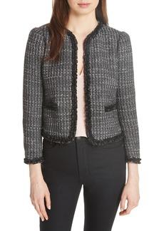 Rebecca Taylor Ruffle Trim Tweed Jacket