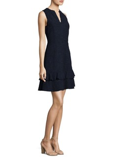 Rebecca Taylor Ruffle Tweed A-Line Dress
