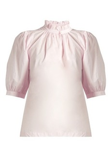 Rebecca Taylor Ruffled-collar cotton-poplin top