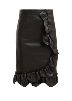 Rebecca Taylor Ruffled faux-leather pencil skirt