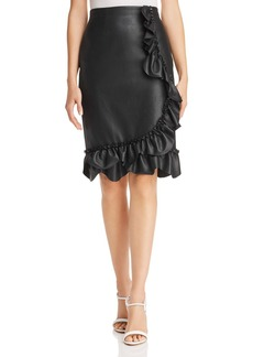 Rebecca Taylor Ruffled Faux-Leather Skirt