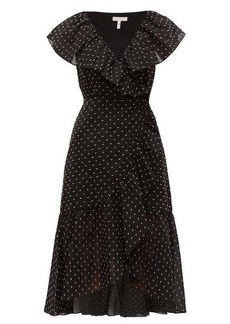 Rebecca Taylor Ruffled fil-coupé wrap midi dress
