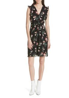 Rebecca Taylor Ruffled Ikat Floral A-Line Dress