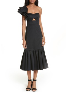 Rebecca Taylor Ruffled One-Shoulder Ruffled Midi Dress