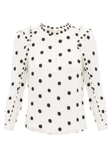 Rebecca Taylor Ruffled polka-dot embroidered-silk blouse