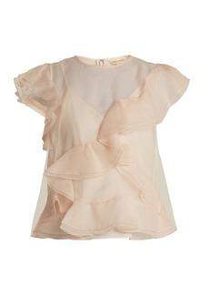 Rebecca Taylor Ruffled silk-organza top