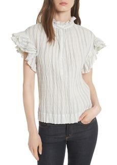Rebecca Taylor Ruffled Stripe Top