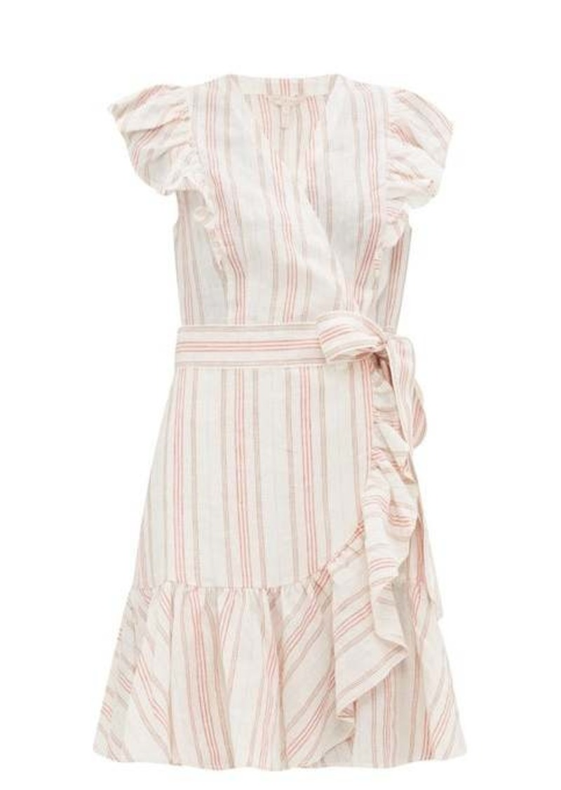 Rebecca Taylor Ruffled striped linen mini wrap dress
