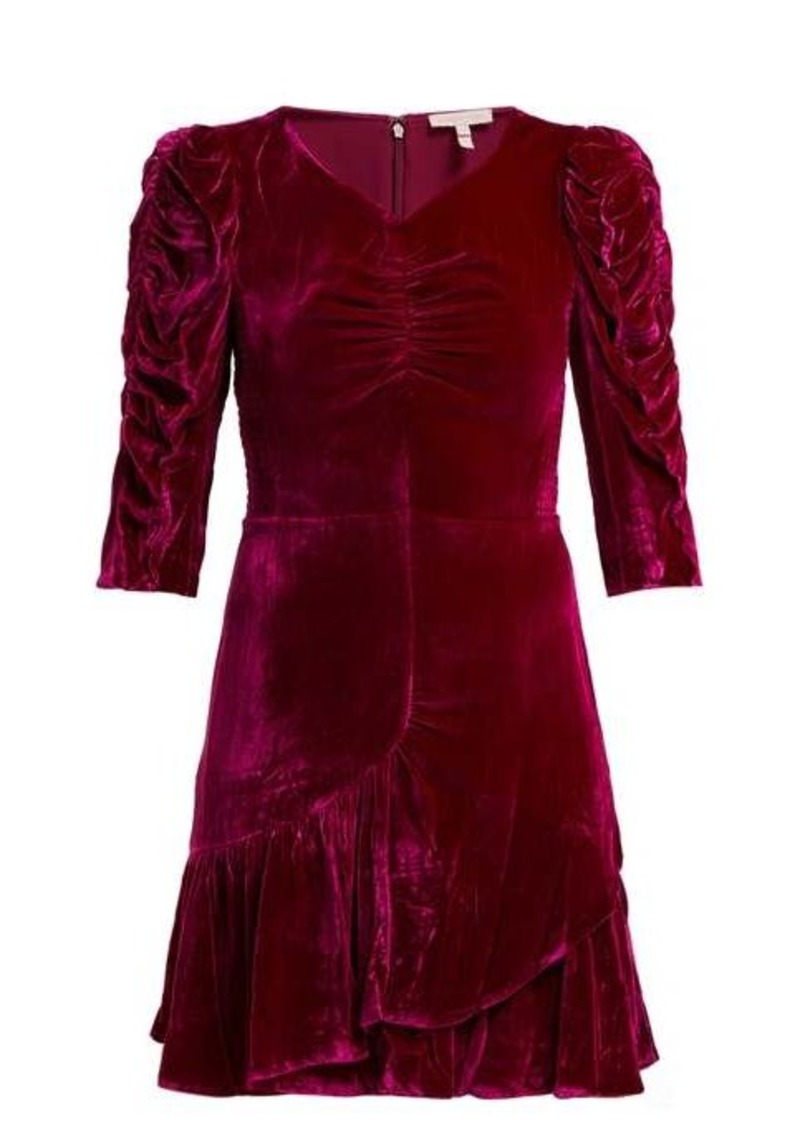 Rebecca Taylor Ruffled velvet mini dress