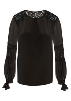 Rebecca Taylor Sarah lace-panel silk blouse
