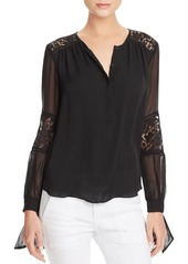 Rebecca Taylor Sarah Lace Paneled Silk Blouse