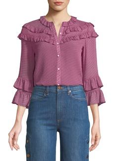 Rebecca Taylor Satin Dot-Print 3/4-Sleeve Ruffle Blouse