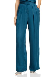 Rebecca Taylor Satin Pleated Wide-Leg Pants