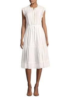 Rebecca Taylor Scalloped Cotton Tier Dress