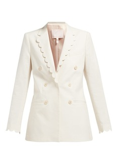 Rebecca Taylor Scalloped double-breasted cotton-blend blazer