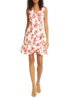 Rebecca Taylor Scarlet Floral Sleeveless Linen Dress