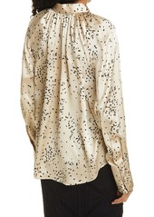 Rebecca Taylor Scattered Fleur Long Sleeve Silk Blouse