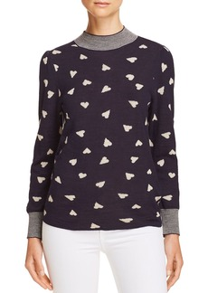 Rebecca Taylor Scattered Heart Jacquard Sweater
