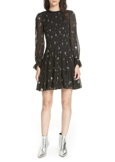 Rebecca Taylor Scattered Metallic Tulip Silk Blend Dress