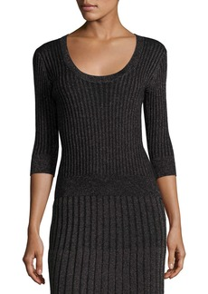 Rebecca Taylor Scoop-Neck Fitted Metallic Ribbed Pullover Top