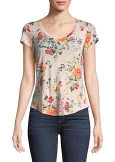 Rebecca Taylor Scoop-Neck Floral-Print Linen Jersey Top