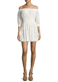 Rebecca Taylor Selina Embroidered Off-the-Shoulder Dress