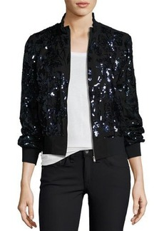 Rebecca Taylor Sequined Silk Bomber Jacket