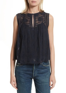 Rebecca Taylor Sheer Embroidered Silk Top